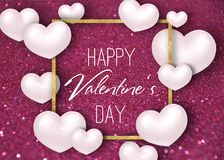 Valentine`s Day White 3D Hearts Glitter Background. Happy Valentine`s Day festive sparkle glitter burgundy dark red background illustration with white realistic Stock Image