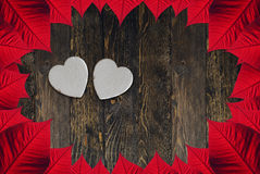 Valentine's day white heart. White hearts for Valentine's day, wood background, red leaves Royalty Free Stock Photos