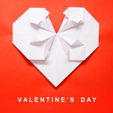 Valentine's Day White Heart Origami Card. Valentine's Day White Heart on Red Paper Origami Card Royalty Free Stock Images