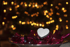 Valentine's day white heart. White heart to fill, chocolates, backlight Royalty Free Stock Photography