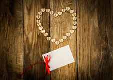 Valentine`s day. On the White  Letter and Нeart from buttons on a wooden background. Valentine`s day Royalty Free Stock Photo