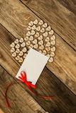 Valentine`s day. On the White  Letter and Нeart from buttons on a wooden background. Valentine`s day Stock Photo