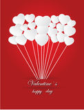 Valentine`s  Day of White Paper Heart  on a Red Background Stock Photo