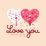 Valentines Day White and Pink heart leaf Royalty Free Stock Photos