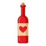 Valentine`s day wine bottle icon. Stock Photo