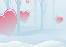Valentine's day in winter forest Royalty Free Stock Image