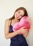 Valentine's day.  Woman with a big red Stock Photo
