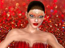 Valentine's day woman on bokeh background. Valentine's day woman on bokeh background of red glitter and sparkles. A masquerade mask adds to the mystery of this Royalty Free Stock Photography