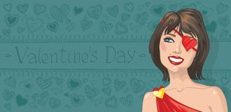 Valentine's Day.woman with pattern of hea Stock Photos