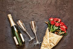 Valentine`s Day, Women`s Day, date, wedding day, birthday, Champ. Valentine`s Day, Women`s day, wedding day, birthday. Champagne, glasses and a bouquet of stock images