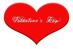 Valentine& x27;s Day wrote on big red heart shape on white background Stock Photography