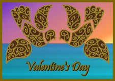 Valentine's days birds on sea background. Abstract Valentine's days birds on sky background stock illustration