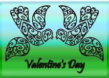 Valentine's days birds on sky background. Abstract Valentine's days birds on sky background royalty free stock image