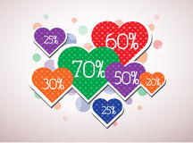 Valentine's discounts. Discounts in a heart shapes Royalty Free Stock Image