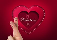 Valentine`s fingers love couple and Happy Valentine`s Day text and Stitched Valentines Heart. Digital composite of Valentine`s fingers love couple and Happy Stock Photos