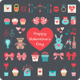 Valentine's flat elements for your design. Royalty Free Stock Photo