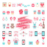 Valentine's flat elements for your design. Stock Photo