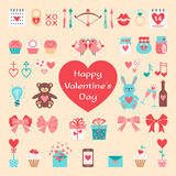 Valentine's flat elements for your design. Royalty Free Stock Images