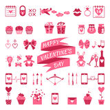 Valentine's flat elements for your design. Stock Photos