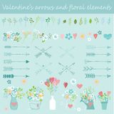Valentine`s Floral, Arrows and Hearts set Royalty Free Stock Photography