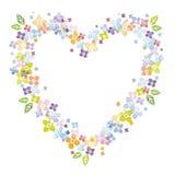 Valentine's floral heart shape frame. Colorful floral heart shape frame for Valentine's Day Stock Image