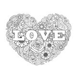 Valentine`s flower drawing heart shape black and white. Design background,  illustration Royalty Free Stock Photos