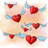 Valentine`s flying hearts Royalty Free Stock Image