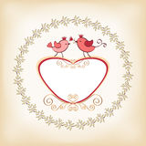 Valentine`s frame with bird. Stock Photos
