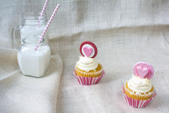 Valentine's french vanilla cupcake with heart gum paste topper Stock Photography
