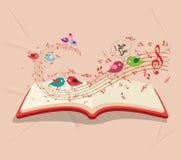 Valentine's funny bird enjoying playing music background Royalty Free Stock Images