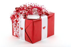 Valentine's Gift. Beautifully wrapped red valentines gift Stock Images