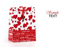 Valentine's gift bag. Valentine's giftbag with hearts and I love you text. Isolated on a white background royalty free stock image