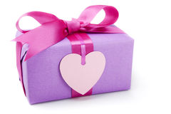 Valentine's gift with blank heart shaped tag Stock Images