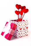 Valentine's Gift Box and Bouquet Stock Images