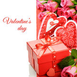 Valentine's gift box with pink roses Stock Images