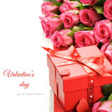 Valentine's gift box with pink roses Royalty Free Stock Photo