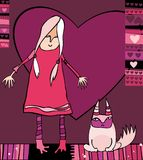 Valentine's girl with cat. Valentine illustration of cute girl and disaffected cat. Design elements Royalty Free Illustration