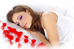 Valentine's girl with red heart Stock Photography