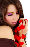 Valentine's girl with red hearts Stock Photo