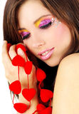 Valentine's girl with red hearts Royalty Free Stock Photography