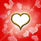 Valentine's golden heart Royalty Free Stock Photos