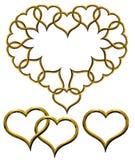 Valentine's golden hearts set Stock Image