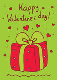 Valentine's greeting card. Present box with hearts Stock Image