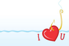 Valentine's greeting card 5. Valentine's greeting card; You can read it as I love U or I caught U vector illustration