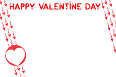 Valentine's greeting card 6. Valentine's greeting card; text Happy Valentine Day, white background with moving red hearts royalty free illustration