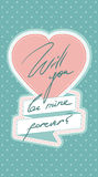 Valentines greeting card. Blue valentines greeting card with white dot and pink heart Royalty Free Stock Images