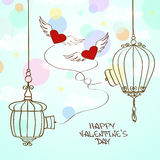 Valentine's greeting card with concept hearts and cage Royalty Free Stock Photo