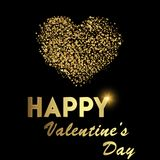 Valentine`s greeting card with golden sparkle heart on black background. Vector.  Stock Photos