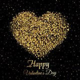 Valentine`s greeting card with golden sparkle heart on black background. Vector.  Royalty Free Stock Image