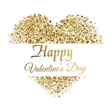 Valentine`s greeting card with golden sparkle heart on white background. Vector. Valentine`s greeting card with golden sparkle heart on white background. Vector Stock Images